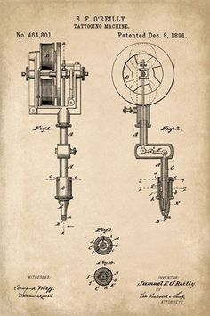 Keep Calm Collection - Tattoo Machine Patent Art Poster Print (http://www.keepcalmcollection.com/tattoo-machine-patent-art-poster-print/)  #PatentArtDecor