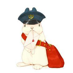 4月20日 郵政記念日/らいらっく Cute Animal Drawings, Kawaii Drawings, Cute Drawings, Rabbit Drawing, Rabbit Art, Bunny Art, Cute Bunny, Illustrations, Illustration Art
