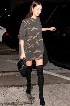Hadid Gives This Risqué Street Style Trend Legs Camo sweatshirt dress with over-the-knee boots and a mini Alexander Wang bag.Camo sweatshirt dress with over-the-knee boots and a mini Alexander Wang bag. Street Style Trends, Street Style 2016, Fashion Mode, Look Fashion, Autumn Fashion, Fashion Outfits, Fashion Trends, Camo Fashion, Camo Outfits