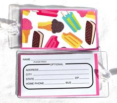 Luggage tags ice cream sandwiches popsicles ice cream cones in vinyl cases...These fun, yet practical tags make the perfect accessory to any luggage, backpack, gym bag or tote. The decorative paper features pink, mint and brown sparkly ice cream cones, blue, green, yellow and pink sparkly popsicles and sparkly ice cream sandwiches on a white background. The decorative paper is attached to pink 110 lb. card stock for sturdiness and protection. On the back of each tag is a personal…