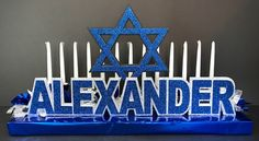 Cutout and glittered layered foamcore name with a Jewish star for a Bar Mitzvah candle lighting ceremony. Bar Mitzvah Decorations, Candle Lighting Ceremony, Foamcore, Star Candle, Casino Night, Solomon, Bat Mitzvah, Holidays And Events, Birthday Celebration