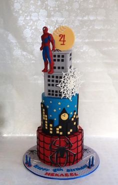 I loved creating this spider man cake..Its my second superhero cake. Design credit goes to SWEET PICASSO CAKES.