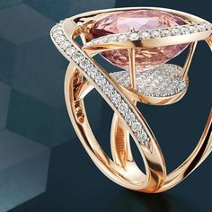 Always pushing the boundaries, Paolo pairs an exquisite Change of Color Tourmaline with an 18kt rose gold whimsical setting, mounted to float above pave-set round brilliant diamonds.