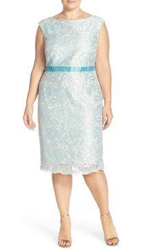 Brianna Embellished Embroidered Lace Sheath Dress (Plus Size)