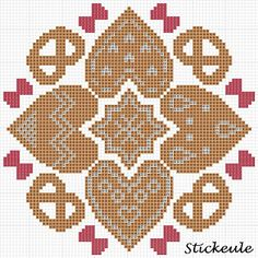 Cross-stitch Gingerbread Cookies Biscornu... no color chart available, just use pattern chart as your color guide.. or choose your own colors...     Stickeules Freebies: WEIHNACHTSMUSTER