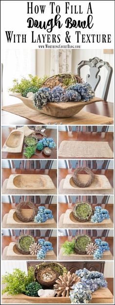 Step By Step Directions For Filling A Dough Bowl How to fill a large dough bowl with something besides candles or orbs. Step by step directions for how to fill it with layers and texture. Farmhouse Style, Farmhouse Decor, Rustic Decor, City Farmhouse, Fresh Farmhouse, Farmhouse Plans, Modern Farmhouse, Dining Room Table, A Table