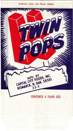 vintage Twin Pops popsicle package label