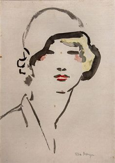 Kees van Dongen - Woman with Hat, Watercolor on paper on MutualArt.com