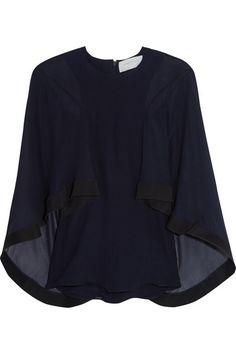 ESTEBAN CORTAZAR Cape-Effect Cady-Trimmed Silk-Chiffon Blouse. #estebancortazar #cloth #tops
