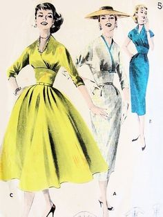 1950s STUNNING Empire Dress Surplice Bodice Pattern BUTTERICK 7982 Slim or Full Skirt Dress Daytime or Evening Bust 32 Vintage Sewing Pattern