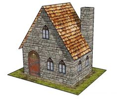 A Simple Stone House Free Building Paper Model Download - http://www.papercraftsquare.com/a-simple-stone-house-free-building-paper-model-download.html#BuildingPaperModel, #House