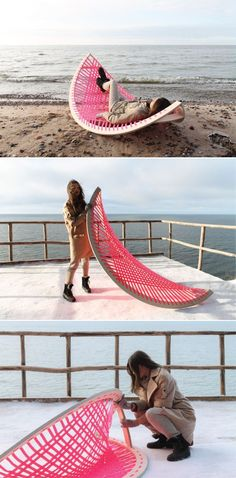 Lithuania-based industrial design student Agota Rimsaite has created Panama Banana, a hammock-style outdoor lounger that can also be used as a soccer post. outdoor furniture Panama Banana Rocking Outdoor Lounger Doubles as a Goalpost Diy Outdoor Furniture, Pallet Furniture, Furniture Projects, Rustic Furniture, Furniture Makeover, Garden Furniture, Out Door Furniture, Victorian Furniture, Modular Furniture