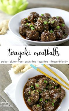 Teriyaki Meatballs | Paleo, Grain-free, Egg-free, Nut-free | paleo meatball recipes | grain-free meatball recipes | egg-free meatball recipes | nut-free meatball recipes | paleo appetizer recipes | grain-free appetizer recipes | egg-free appetizer recipes | nut-free appetizer recipes | freezer-friendly meatball recipes | freezer-friendly appetizers || The Real Food Dietitians
