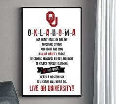 OKLAHOMA Alma Mater Poster - University of Oklahoma. $22.00, via Etsy.