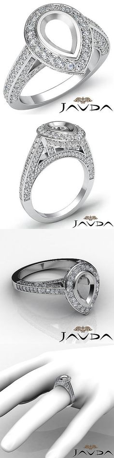 Settings Only 164309: Halo Pave Set Diamond Engagement Pear Semi Mount Ring 18K White Gold White 1.25C -> BUY IT NOW ONLY: $1912.5 on eBay!