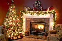 Christmas Tree And Fireplace, Real Christmas Tree, Christmas Living Rooms, Christmas Mantels, Christmas Home, Christmas Tree Decorations, Christmas Lights, Christmas Holidays, Merry Christmas