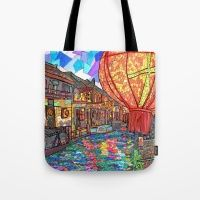 Shang Tang Street Tote Bag I love this tote bag! It is so bright and colourful. It is depiction of Shan Tang Street in China. It overlooks a canal. The lanterns and lights from the building make the water just shimmer! Lanterns, Reusable Tote Bags, Bright, China, Street, Building, Water, Stuff To Buy, Totes