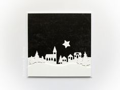 Black, white and the first star - Christmas card