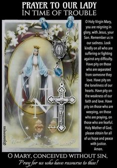 Prayer to Our Lady In Times Of Trouble Prayers To Mary, Novena Prayers, Special Prayers, Prayers For Healing, Catholic Prayers Daily, Faith Prayer, God Prayer, Prayer Quotes, Power Of Prayer