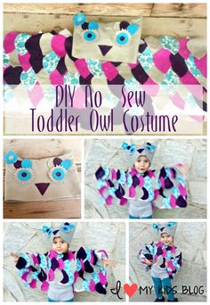 An easy tutorial on how to make a DIY toddler owl costume