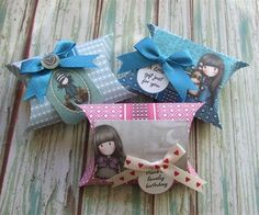 Handmade Santoro's Gorjuss Pillow Boxes are based on the free-to-download Pillow Box Collection printables.