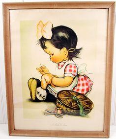Vintage Framed Print Illustration  Girl Sewing  by vintagegoodness, $17.95