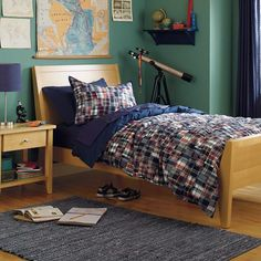The Land of Nod | Kids' Bedding: Blue Plaid Madras Duvet Cover in Duvet Covers
