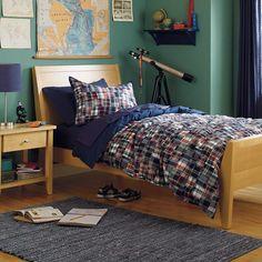 The Land of Nod | Kids' Bedding: Blue Plaid Madras Duvet Cover in Duvet Covers