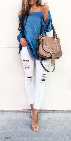 Off the shoulder blue top with distressed white skinny jeans. Stitch Fix spring/summer 2017 inspiration. Ask you stylist for something like this. Click on the picture to fill out your style profile. #sponsored