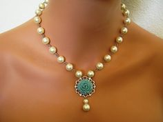 Vanilla Pearl Mint Gray Rose NECKLACE & EARRINGS by SnazzyJewels, $30.00