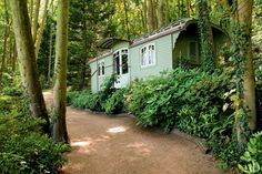 The exterior of a Romany caravan that Jacques Grange transformed into a tidy guesthouse.