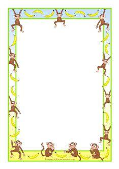 Monkeys and bananas A4 page borders (SB8473) - SparkleBox