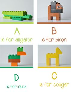{Lego Animal Alphabet} This. scroll down on this site to get the rest of the alphabet.wish I had had this when I was teaching! Lego Activities, Alphabet Activities, Preschool Activities, Lego Games, Lego Duplo, Animal Alphabet, Kids Alphabet, Alphabet Book, Preschool Alphabet