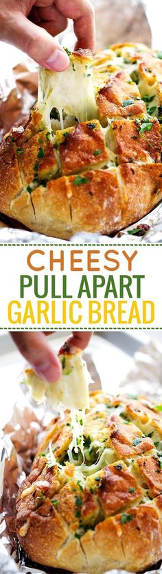 Low Carb Recipes To The Prism Weight Reduction Program Cheesy Garlic Pull Apart Bread - Load Bread Stuffed With Fresh Mozzarella Cheese And Melted Garlic Butter. You'll Never Eat Regular Garlic Bread Ever Again Yummy Recipes, Appetizer Recipes, Cooking Recipes, Bread Recipes, Party Appetizers, Bread Appetizers, Vegan Recipes, Dishes Recipes, Appetizer Ideas
