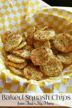 Baked Squash Chips are lightly breaded summer squash flavored with parmesan cheese and herbs.Baked Squash Chips are lightly breaded summer squash flavored with parmesan cheese and herbs. Side Dish Recipes, Vegetable Recipes, Vegetarian Recipes, Cooking Recipes, Healthy Recipes, Dishes Recipes, Recipies, Summer Squash Recipes, Summer Recipes