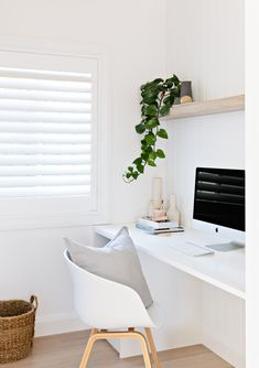 light and airy office, computer desk styling, desk area, office style, open shel… – Modern Home Office Design Home Office Space, Home Office Decor, Office Ideas, Office Themes, Bedroom Office, Office Interior Design, Office Interiors, Office Designs, Home Office