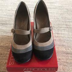 aae5f4d642 AEROSOLES Shoes | Aerosoles Suede Pumps, Size 9m | Color: Black/Tan