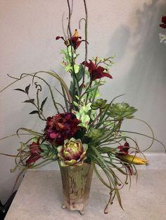 Contemporary Flower Arrangements, Large Flower Arrangements, Christmas Flower Arrangements, Artificial Floral Arrangements, Fall Arrangements, Artificial Flowers, Deco Floral, Arte Floral, Date Photo