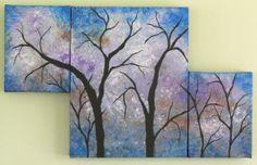 Original Acrylic Tree Triptych Dark Forest On by Artfulcreations, $164.00