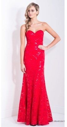 BARIANO Sylvie Strapless Pattern Sequin Gown.