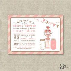 Mason Jar Bridal Shower, Birthday Party or Baby Shower Printable Invitation - Emma Collection - Pink
