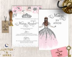 Pink and Silver Quinceañera Invitation Quinceanera Sweet 16 Decorations, Quince Decorations, Quinceanera Decorations, Quinceanera Party, Quinceanera Dresses, Quince Invitations, Birthday Party Invitations, Quince Themes, Quince Ideas