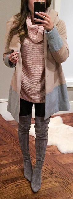 #winter #fashion /  Pink Top / Brown Coat / Dark OTK Boots