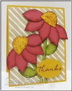 Festive Flower Builder Punch Coneflowers for the SUO Punch Art Challenge this time! Fall, punch art, Watercolor Wonder, Stampin' Up!, #stampinup, created by Connie Babbert, www.inkspiredtreasures.com