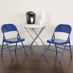 Give your home a makeover with this Flash Furniture Hercules COLORBURST Series Cobalt Blue Triple Braced and Double Hinged Metal Folding Chair. Metal Folding Chairs, Metal Chairs, Black Chairs, Foldable Chairs, Conference Room Chairs, Office Furniture Stores, Ergonomic Chair, Colorful Chairs, Eames Chairs