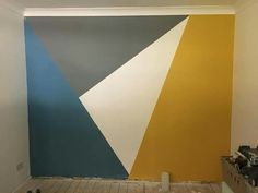 Featured wall in or spare room, just awaiting the carpet. Featured wall in or spare room, just awaiting the carpet. Wall Painting Decor, House Painting, Geometric Wall Paint, Bedroom Wall Designs, Spare Room, Room Paint, Room Colors, Home Deco, Interior Design Living Room