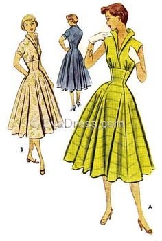 D50-8835; 1952 One-Piece Dress 16-piece JUNIOR SIZE pattern originally by McCall's, this one-piece dress has gored skirt and high waist-line with cap sleeves or sleeveless bodice which is gathered ove
