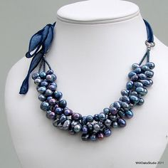 Blue Pearl Necklace on a Silk Ribbon, Freshwater Peacock Pearls, Pearl Bib Necklace. $55.00.