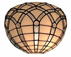 TIFFANY STYLE WHITE WALL SCONCE LAMP 12 IN WIDE on #Bulkzon  Overall width: 12 inches Overall height: 7.25 inches Requires One (1) maximum 60 watt E27 type A bulbs (not included) Switch type: Hardwired Glass count: 122 pieces Cabochon count: 7 Fixture finish: Dark brown Materials: Copper-foiled glass, metal base,   #TiffanyStyle #Indoor #WallLamps #Decorative #Lighting #LightFixture #InteriorDesignIdeas #TiffanyLamp
