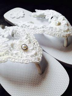 62c3c8e7ee64 Items similar to Lace Wedding Flip Flops on Etsy